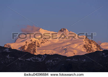 Stock Photo of Monte Rosa Massif, Nordend and Dufourspitze peak.
