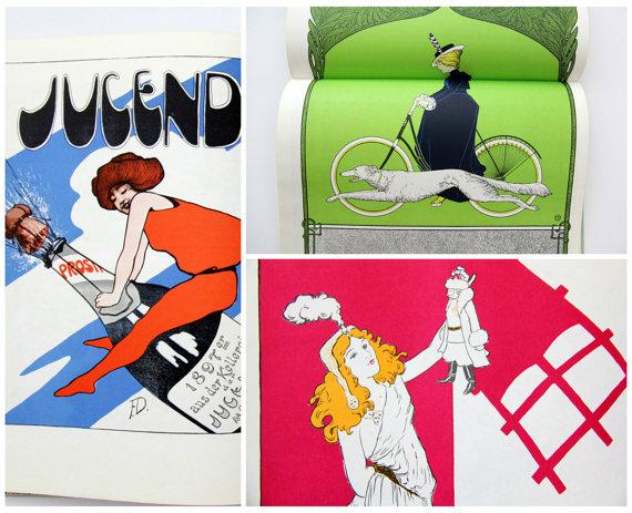 Vintage Book // Jugendstil Druckkunst // Berghaus by Yugovicheva.