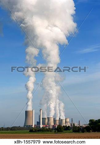 Stock Photograph of View of emissions from Niederaussem coal fired.