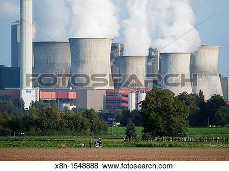 Pictures of View of Niederaussem coal fired power station in.