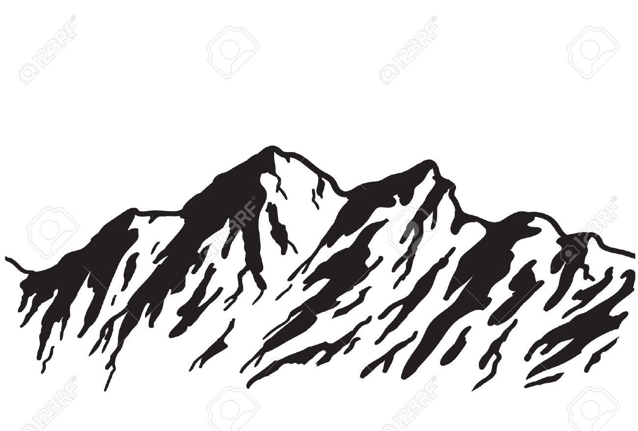 Gebirge Auf Weiß Isoliert Lizenzfrei Nutzbare Vektorgrafiken, Clip.