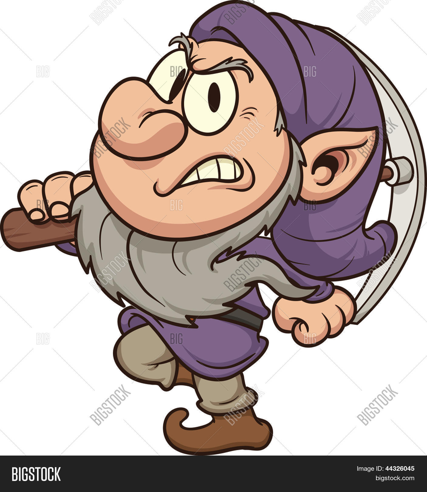 Angry miner dwarf. Vector clip art illustration. All in a single.