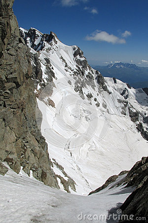 Bergschrund Mountain Snow Crack Stock Photo.