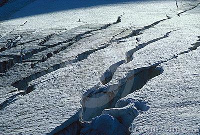 Mountain Snow Crack, Bergschrund Stock Photo.