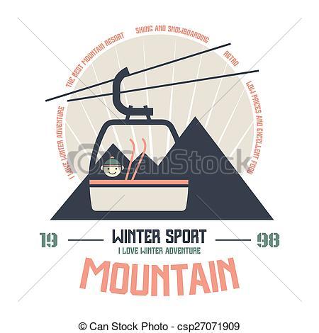 Vektor Clipart von berg, Sport, emblem, Winter.