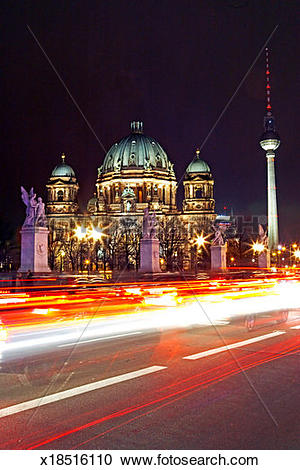 Stock Photography of Germany, Berlin, Berliner Dom , night (long.