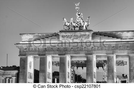 Stock Illustration of Brandenburg Gate at night from Pariser Platz.