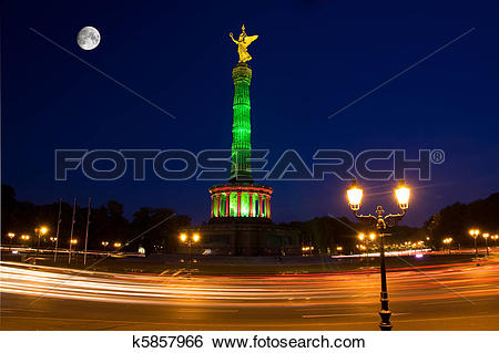 Stock Images of berlin night siegesseule street moon k5857966.