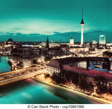 Stock Image of Berlin, Germany major landmarks at night.