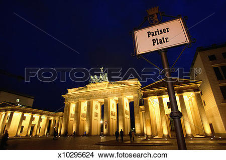 Stock Photo of Germany, Berlin, The Brandenburg Gate, night.