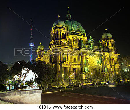Stock Image of Dome Church at night with Television Tower in the.