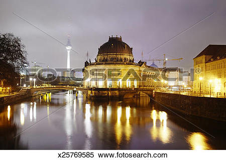 Stock Image of Museum island in Berlin at night with Radio tower.