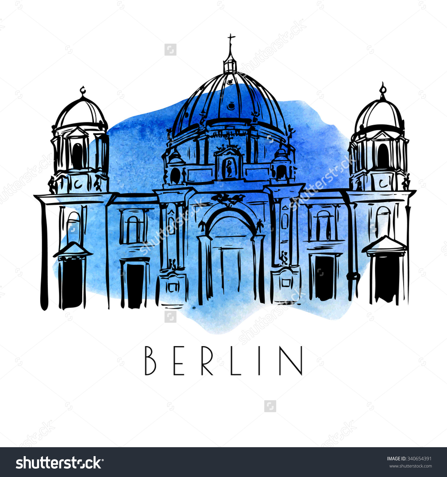 Vector Card Sketch Berlin Cathedral Hand Stock Vector 340654391.