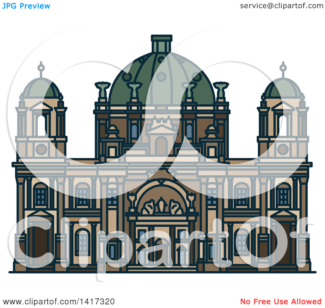 Clipart of a German Landmark, Berlin Cathedral Church.