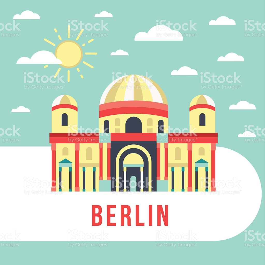 Flat Vecor Retro Illustration Berlin Cathedral Germany stock.