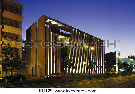 Stock Photograph of Government building lit up at dusk, Embassy Of.