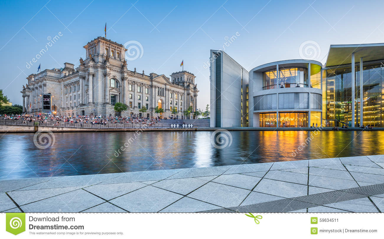 Berlin Government District With Reichstag Building At Dusk.