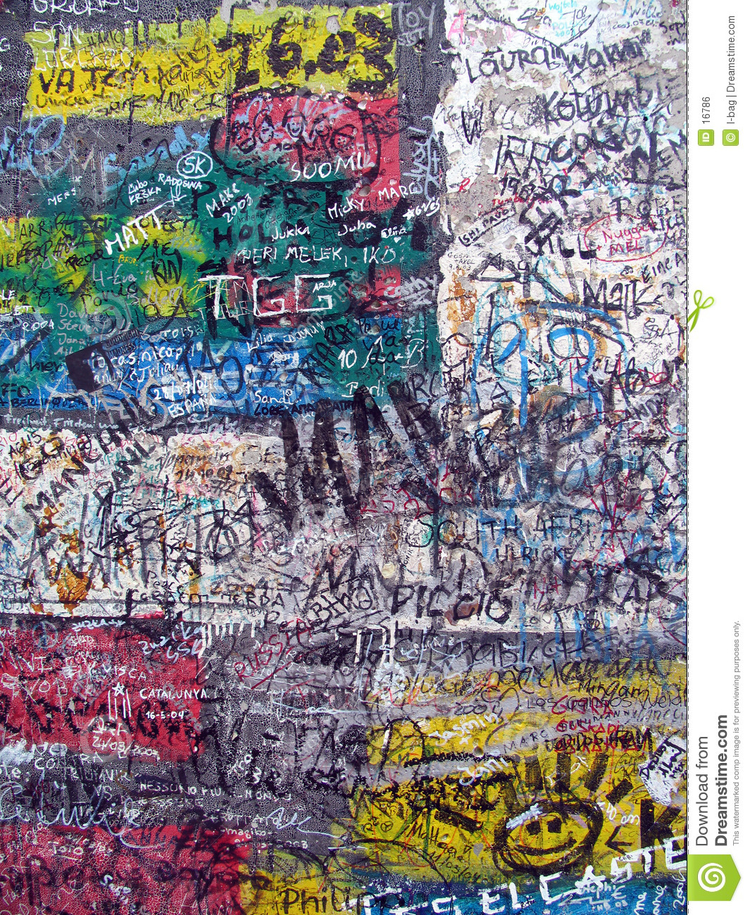 Graffiti On The Old Berlin Wall Royalty Free Stock Image.