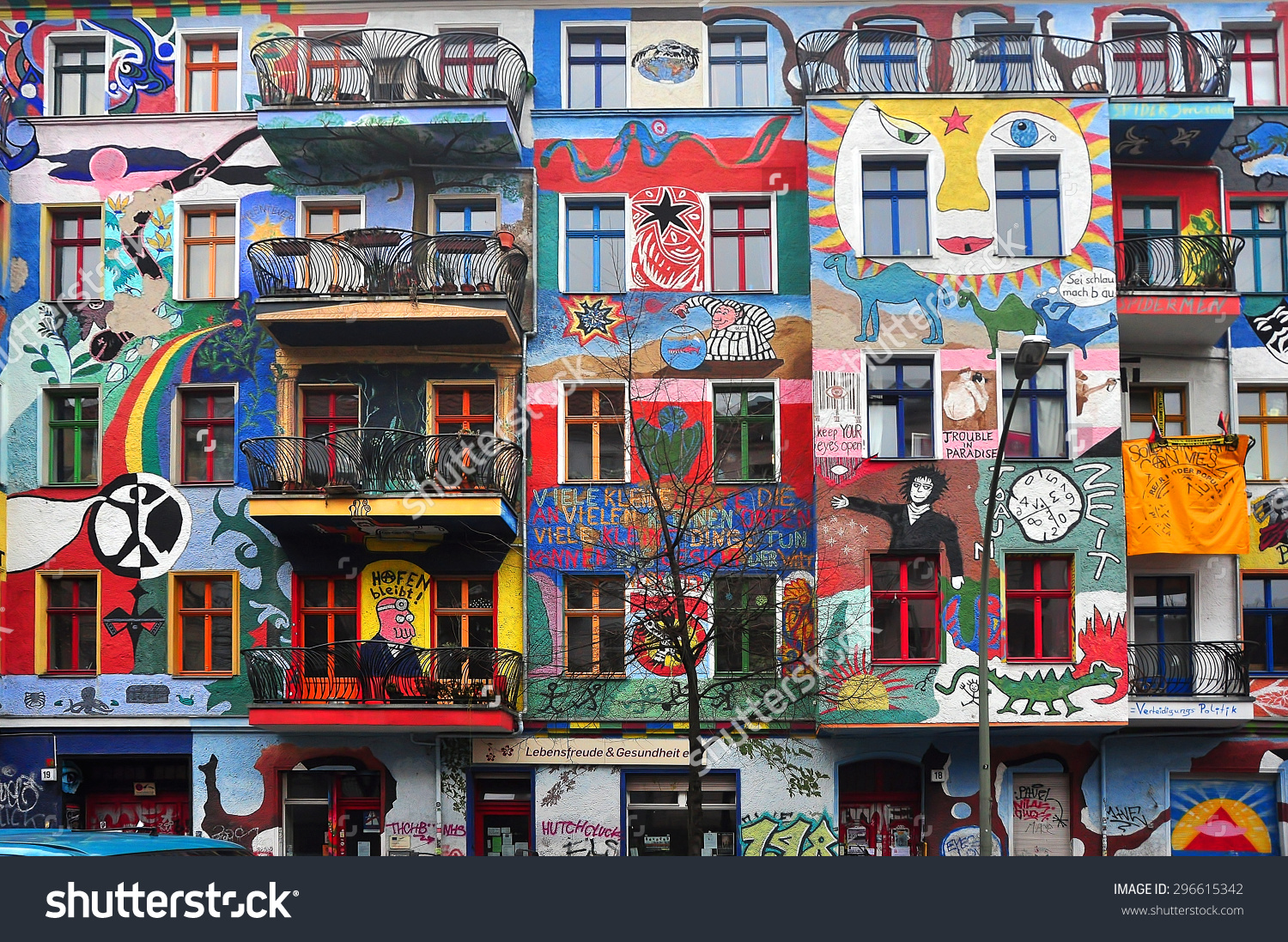 Berlin March 6 Graffiti House Easten Stock Photo 296615342.