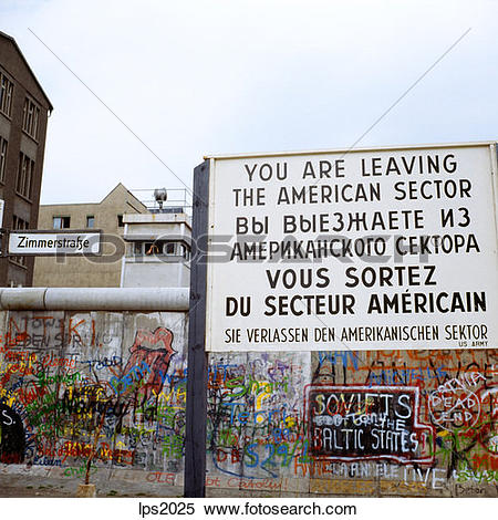 Stock Image of 44 1986 Germany Berlin Wall With Graffiti And Post.