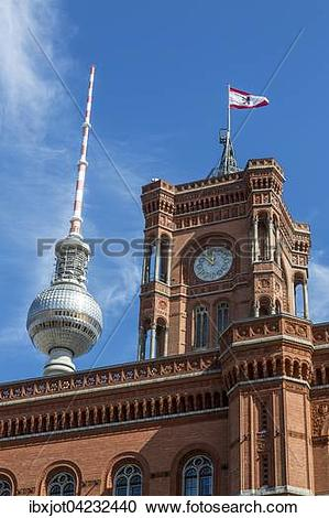 Stock Photography of Town Hall with the Berlin flag and TV Tower.