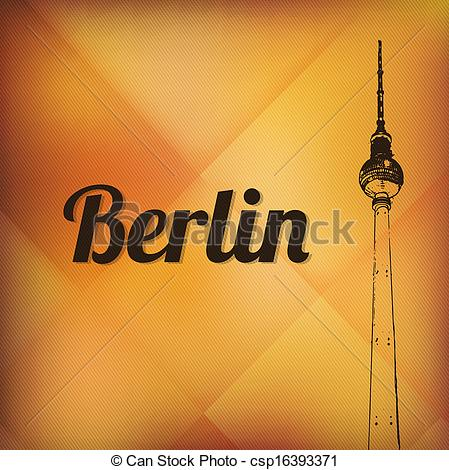 Vectors Illustration of television tower in berlin mitte at sunset.