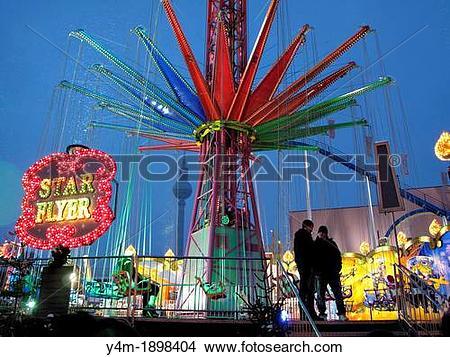 Stock Photo of Christmas fair, amusement park at Alexanderplatz.