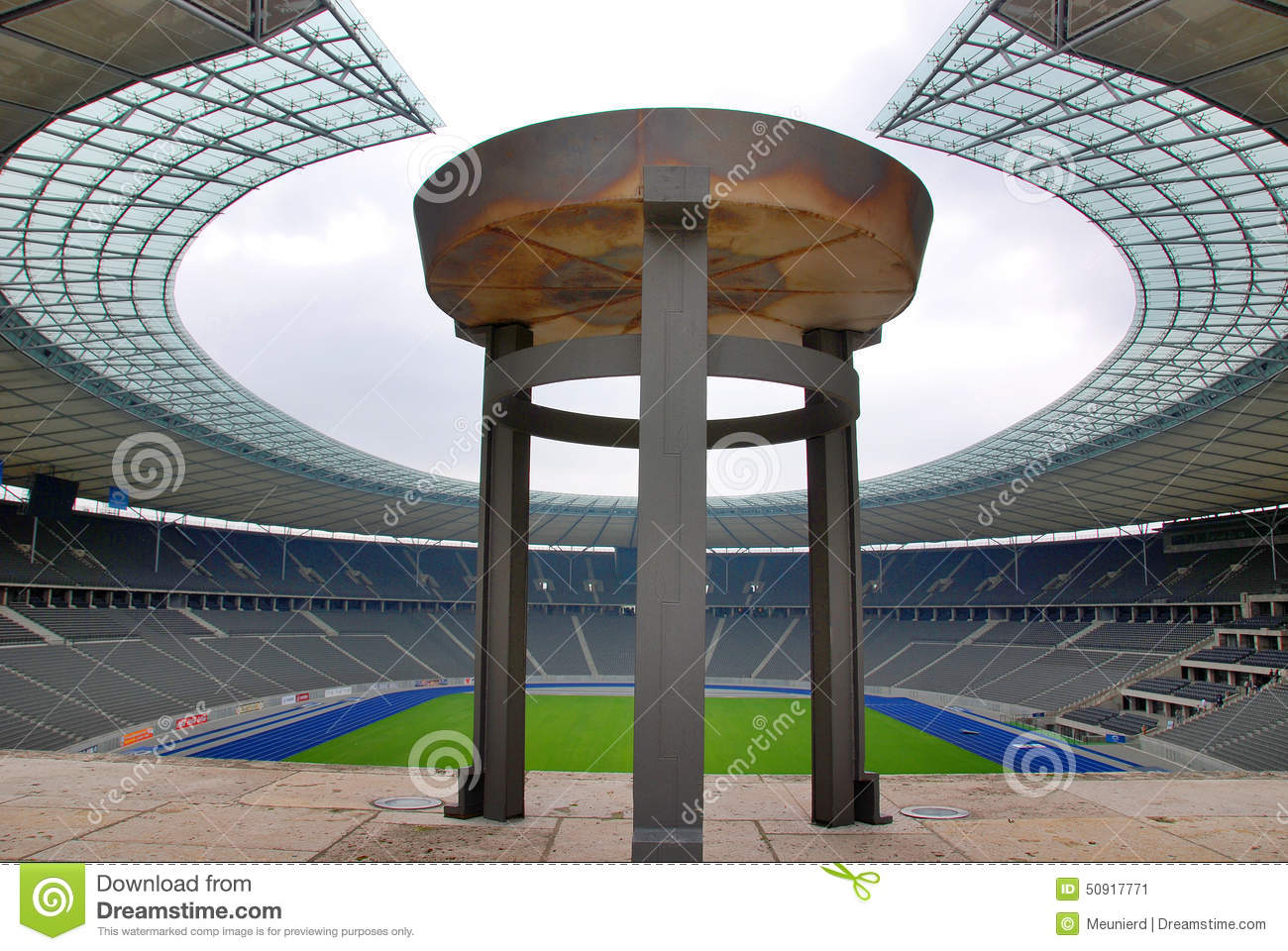 Berlin's Olympia Stadium And The Olympic Cauldron Editorial Photo.