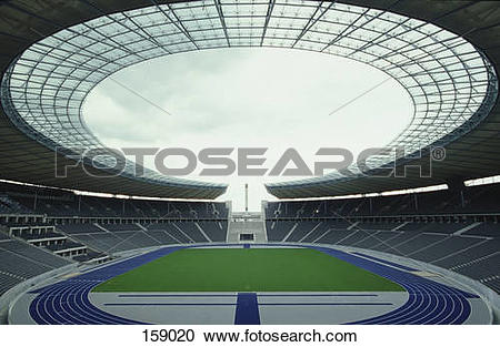 Stock Photography of Empty soccer stadium, Olympic Stadium, Berlin.