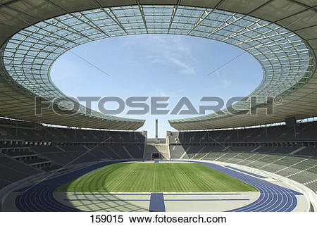 Stock Image of Empty soccer stadium, Olympic Stadium, Berlin.