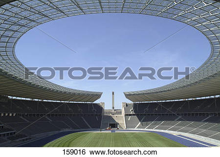 Stock Images of Empty soccer stadium, Olympic Stadium, Berlin.