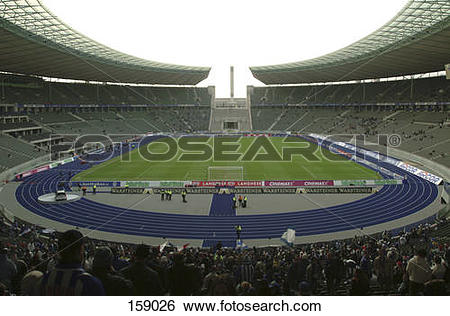 Stock Images of Spectators in soccer stadium, Olympic Stadium.