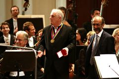 Conductor Barenboim And The Berlin Philharmonic Orchestra.