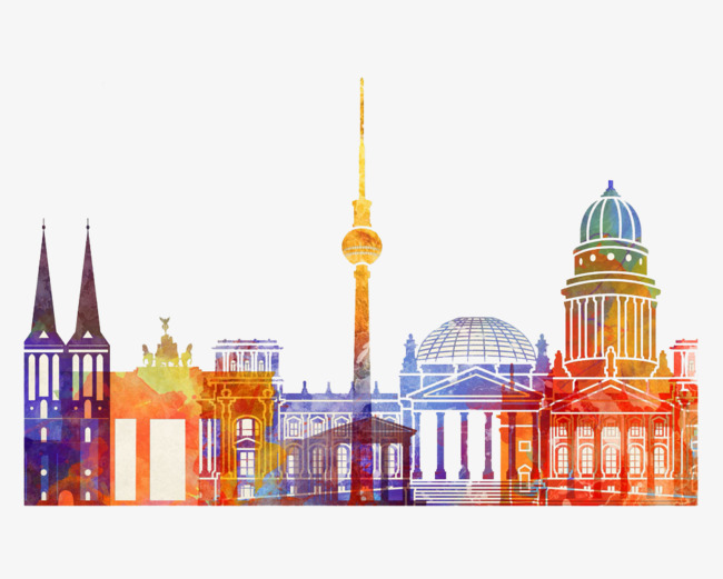 Watercolor Architecture In Berlin, Watercolor Clipart, Cartoon, Hand.