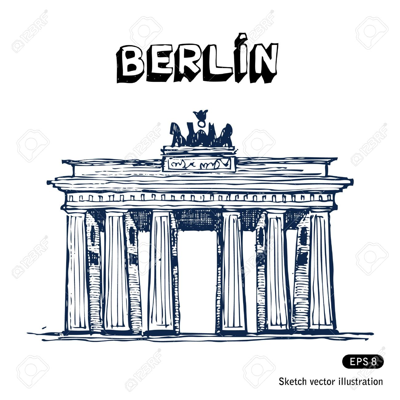 The Brandenburg Gate In Berlin Hand Drawn Vector Isolated On.