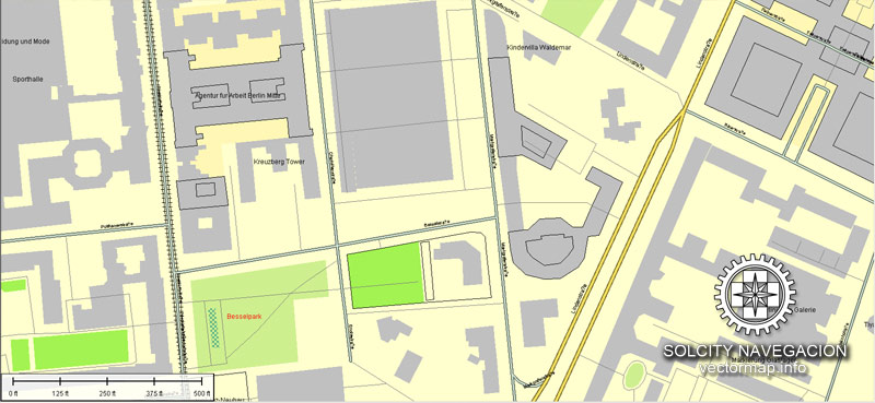 Berlin printable vector street map, Atlas 100 parts, full editable.