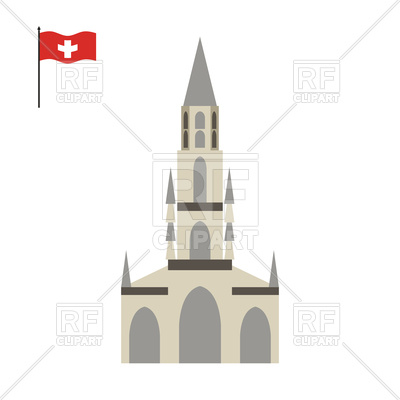 Bern Cathedral with flag of Switzerland Vector Image #131394.