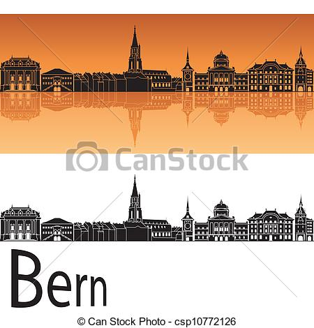 Vector Illustration of Bern skyline in orange background in.