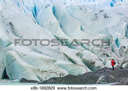 Stock Photograph of Bernal Glacier in Estero Las Montanas, Strait.