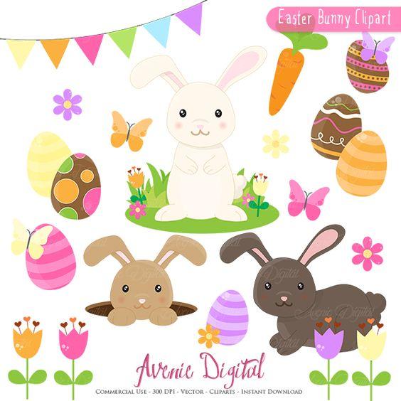 Easter Bunny Clipart Scrapbook printables, Spring clip art set for.