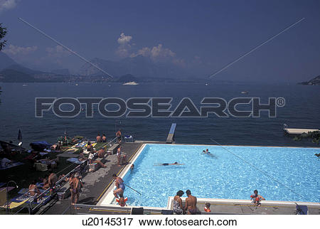 Picture of swimming pool, Switzerland, Lake Thun, Thunersee, Berne.