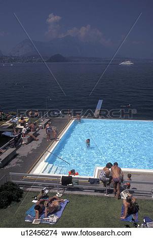 Stock Photo of swimming pool, Switzerland, Lake Thun, Thunersee.