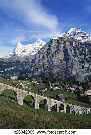 Stock Photo of Mt Eiger, Mt Jungfrau and Mt Monch, Murren, Bernese.