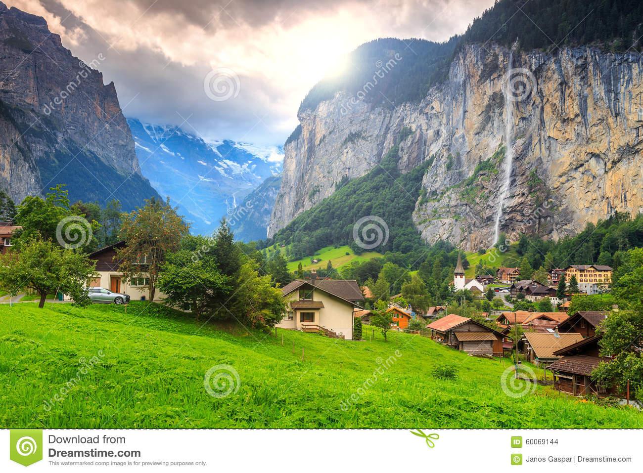 Famous Lauterbrunnen Town And Staubbach Waterfall,Bernese Oberland.