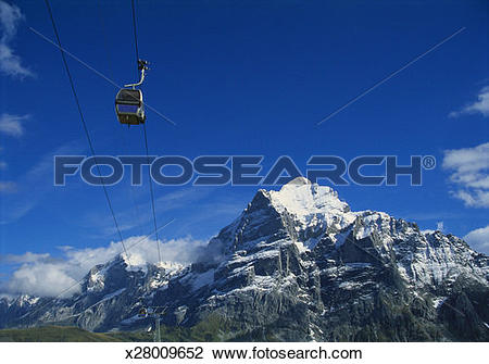 Stock Photo of Cable Car and Mt Wetterhorn, Grindelwald, Bernese.
