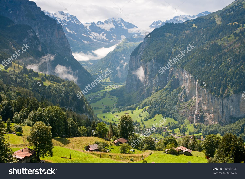 Switzerland Berner Oberland View Wengen Lauterbrunnen Stock Photo.