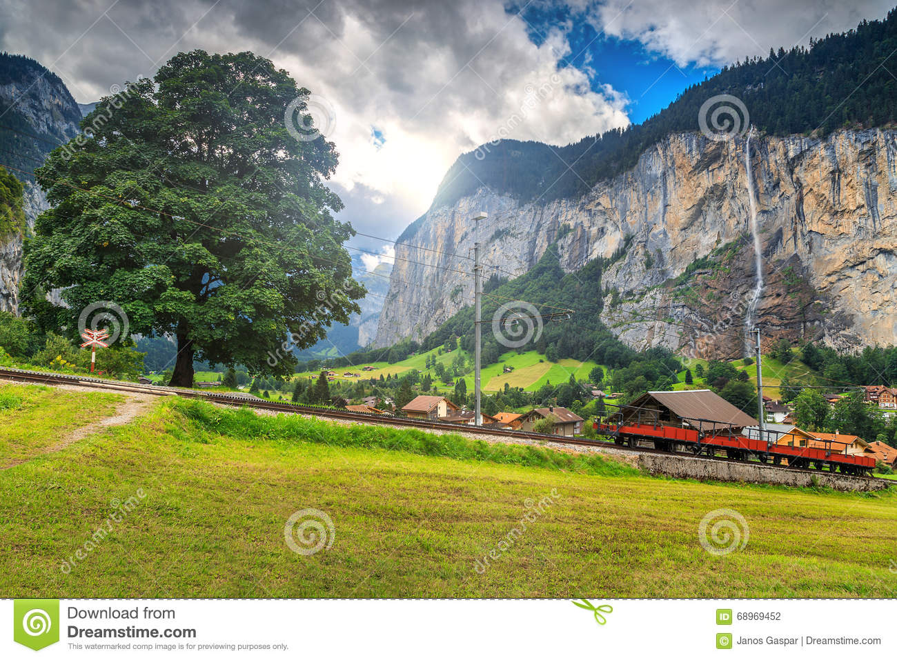 Famous Lauterbrunnen Town And Staubbach Waterfall,Bernese Oberland.