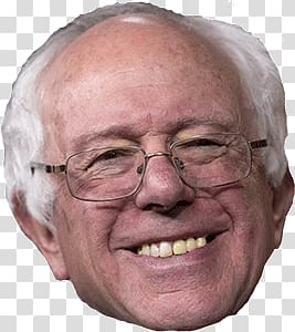 Man wearing eyeglasses smiling, Bernie Sanders Face.