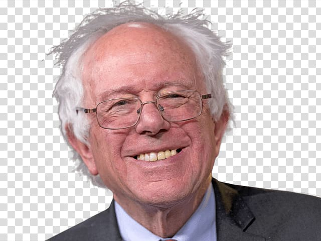 Smiling man wearing black blazer, Bernie Sanders Smiling.