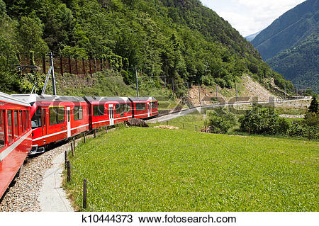 Stock Photo of Swiss mountain train Bernina Express k10444373.